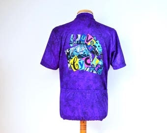 vintage UVEX CYCLING JERSEY Neon 80s 90s mens size L short sleeve T-shirt purple made in Italy