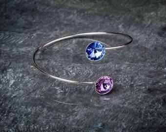 Pink and blue swarovski crystals and 925 sterling silver bangle bracelet