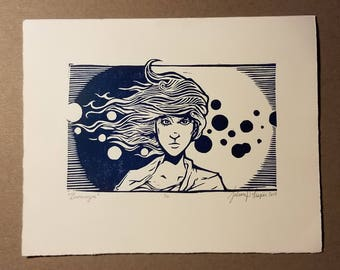 "Limited Edition Woodcut Print ""Bronwyn"""