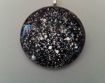 Black and silver glass cabochon on a sterling silver plated necklace,glass jewlery, gift for her, birthday, mothers day