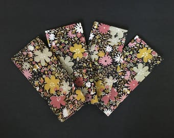 Vintage handmade floral napkins, set of 4