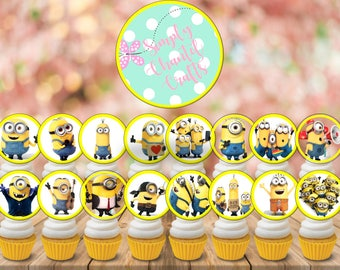 Minions Cupcake Toppers, Printable Minions Cupcake Toppers, Minions Toppers, Minions Birthday Party, Minions Cake Toppers, Minions Cupcakes