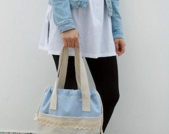 Handbag Shoulder Handbag bag Shoulder bag Women handbag Gift for women Gift for a girl Summer bag Blue beige bag Bag with lace Shopping bag