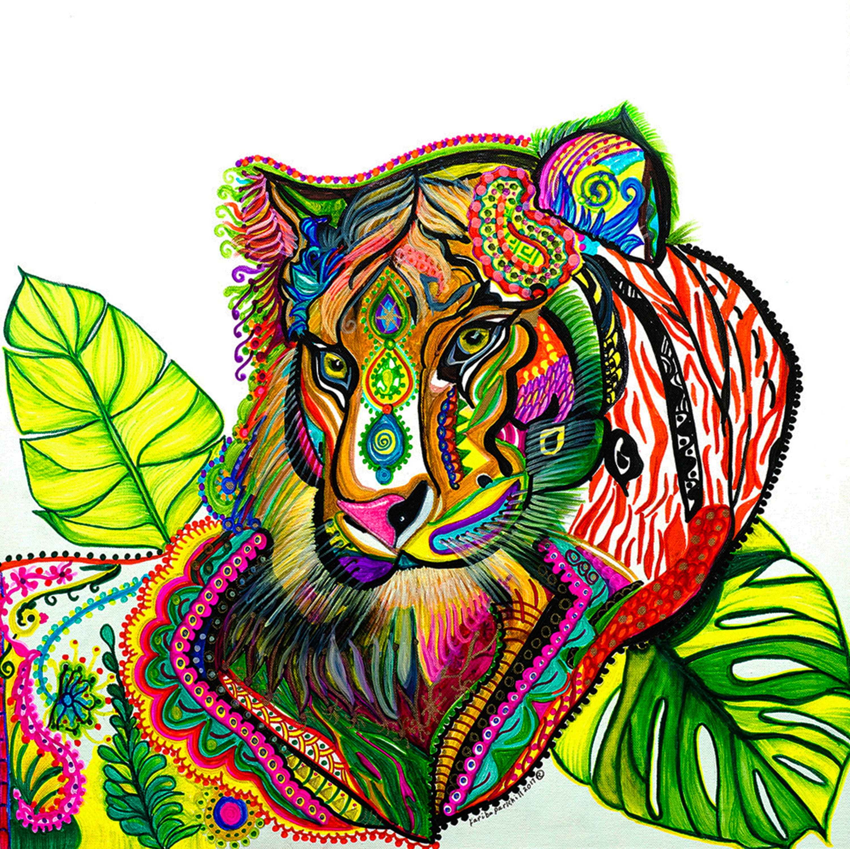 tiger painting spirit tiger totem pole tiger wall art canvas