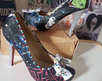 Star Wars Heels Custom Wedding shoes Darth Vader Yoda Glitter Geek Chic