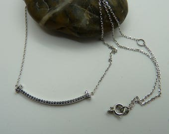 14k White Gold  Necklace with 34 Black Diamonds