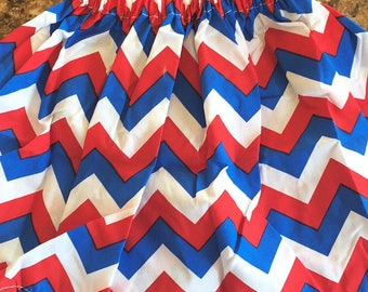 Adorable chevron red, white & blue skirt