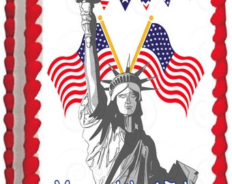 LIBERTY STATUE edible cake topper party image