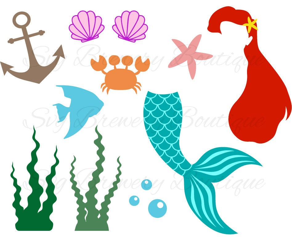 Mermaid tail, clam, shell SVG (layered), PNG, DXF, Pdf cricut, silhouette studio, vinyl decal, t ...