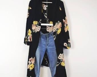 Floral Moss Crepe Long Kimono Jacket