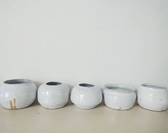 Vases (semi trans part white glaze)