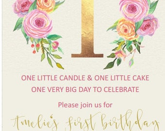 Floral Golden 1st birthday invitation