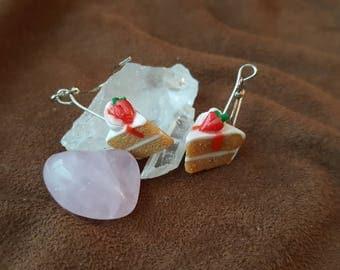 White Strawberry Cake Earrings