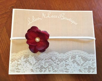 Dark Red Flower Baby Headband with Pearl accent