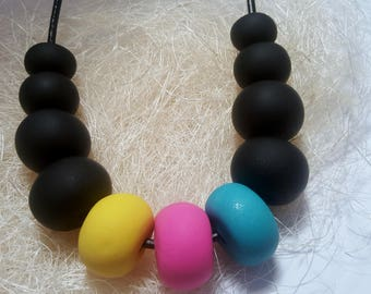 Pink Blue Yellow Polymer Necklace / Modern Necklace / Fashion Jewelry / Bold Beads