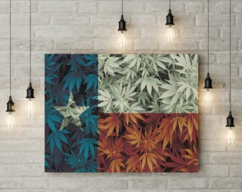 Weed Leaf Texas Flag Canvas