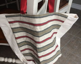 red striped bag