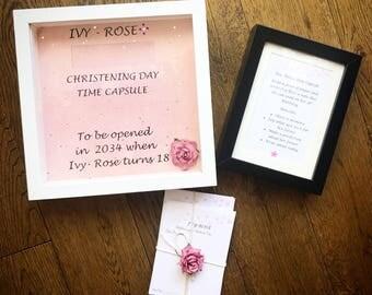 Christening time capsule keepsake/ first birthday time capsule keepsake frame/baby shower/first christmas