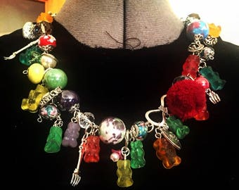 kawaii necklace handmade fashion multicolor beads Tibetan silver resin crystals means gummy bears look chic