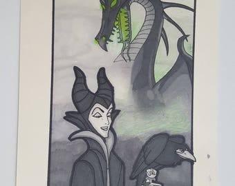 Malificent Original Drawing and Inking. Disney Villain Sleeping beauty dragon