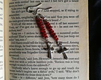 Red Bead n Cross Earrings