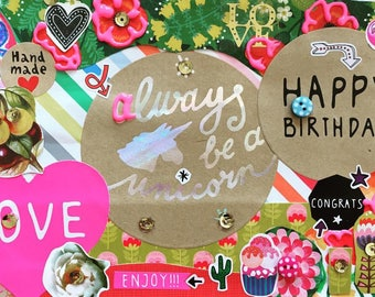"""Hand made frame with quote """"Always be a unicorn"""" 14x20 cm"""