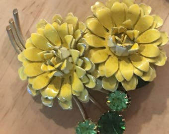 Vintage Weiss Yellow and Green Brooch