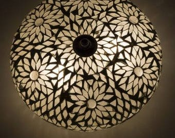 Oriental ceiling light Goa mosaic transparent & white Bohemian 24 cm