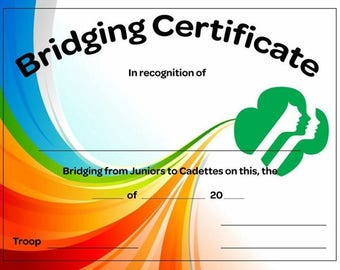 Junior to Cadette Certificate Girl Scouts