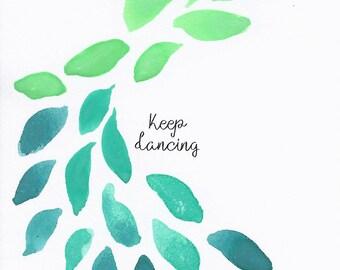 Keep Dancing - 3x3 Original Mini Watercolor Painting