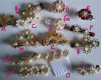 Hair clips, hair combs, hair accessories, hair jewelry, hair barretes