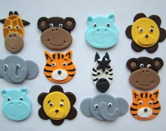 Safari animal cupcake toppers - edible fondant - 12