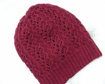 Hand Knitted Womens Hat, Merino Womens Sloutchy Hat, Cashmere Hat, Hand Knitted Claret Sloutchy Hat
