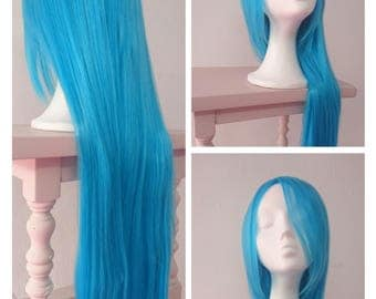 Blue wig- Hight quality synthetic hair - 80cm