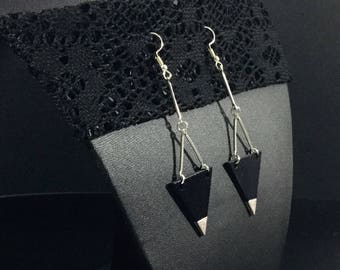 Black and silver Triangle earrings