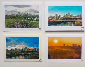 """Greeting Cards, Photography Blank , 5""""x7"""", 4 Pieces, View of Edmonton City"""