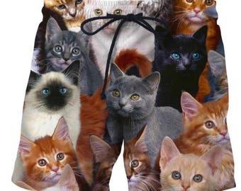Cat Collage Kitten Swim Trunks Polo Surf Board Shorts