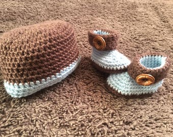 Baby Boy Hat and Bootie Set, Blue and Brown OR Red and Brown