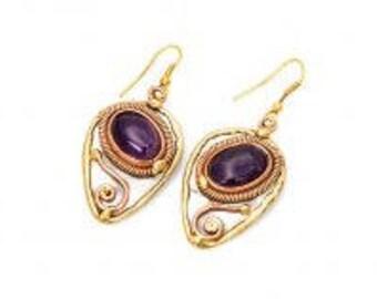mixed metal earrings, amethyst earrings, unique earrings, nickle free, handmade, boho chic