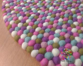 Felt Ball Rug / Pastel Nursery Carpet/ Pom pom rug/ Pebble Rug (Free Shipping)