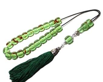 Worry Beads, Komboloi, Green Caribbean Amber color, Ball shape beads, Tasbih, Greek Komboloi, Handmade Green color Tassel, Original Komboloi