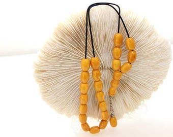 Worry Beads, Komboloi, Kahraman Amber color, Barrel shape beads, Tasbih, Handmade Greek Komboloi, Relaxation, Meditation, Stress Relief