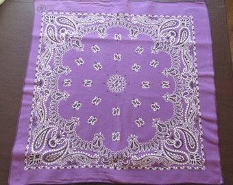 Vintage Elephant Trunk Up USA 100% Cotton Bandana-RN 115562 Purple~Black~White