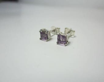 natural amethyst earring, amethyst sterling silver earring