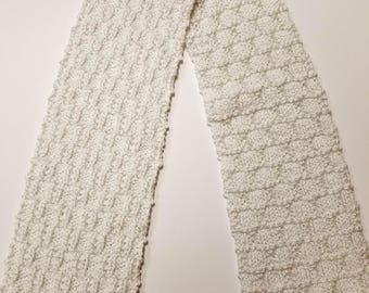 Elegant White With Silver Threads Hand Knit Scarf