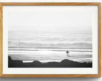 Two Black And White Surfer Digital Prints Surf Photo Ocean Beach Print // B&W Photo // Surfer // Two Prints // Ocean Beach Waves Surf Cali