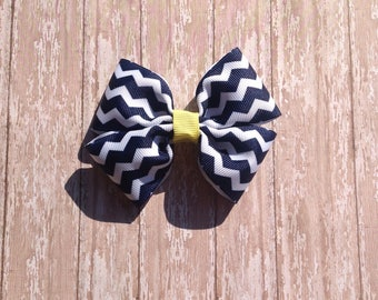 Navy and yellow chevron bow