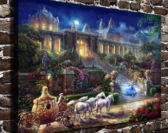 Cinderella Romance Awakens, Framed Canvas Wall Art