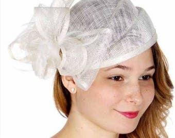 Rose & bow sinamay pillbox hat