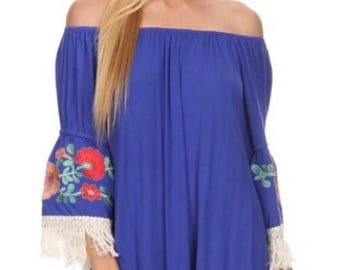 Blue fringe tassle dress